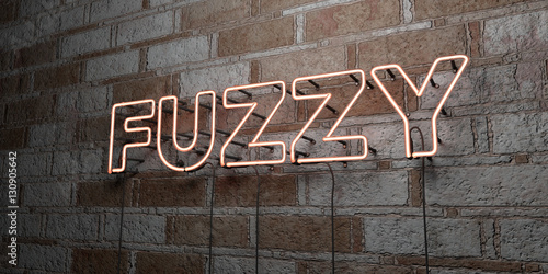 Photo  FUZZY - Glowing Neon Sign on stonework wall - 3D rendered royalty free stock illustration
