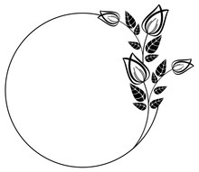 Round Black And White Frame Outline Decorative Flowers. Copy Space.
