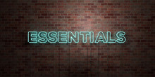 ESSENTIALS - Fluorescent Neon Tube Sign On Brickwork - Front View - 3D Rendered Royalty Free Stock Picture. Can Be Used For Online Banner Ads And Direct Mailers..