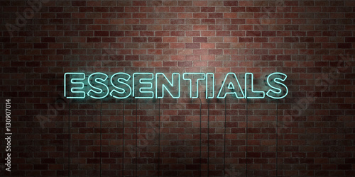 Fotografie, Obraz  ESSENTIALS - fluorescent Neon tube Sign on brickwork - Front view - 3D rendered royalty free stock picture