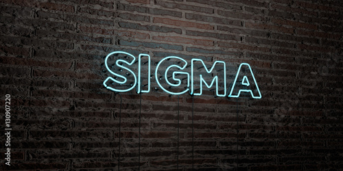 Fotografie, Obraz  SIGMA -Realistic Neon Sign on Brick Wall background - 3D rendered royalty free stock image