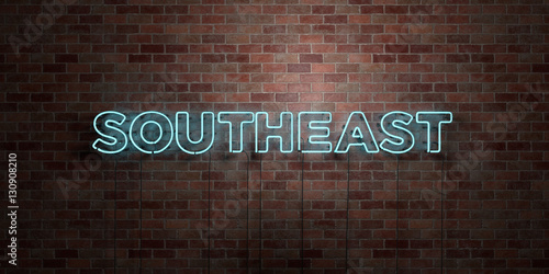 Photo  SOUTHEAST - fluorescent Neon tube Sign on brickwork - Front view - 3D rendered royalty free stock picture