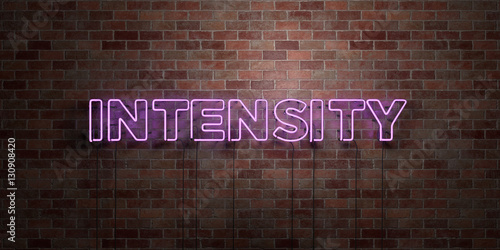 Fototapeta INTENSITY - fluorescent Neon tube Sign on brickwork - Front view - 3D rendered royalty free stock picture. Can be used for online banner ads and direct mailers.. obraz na płótnie