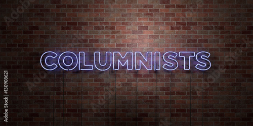 Valokuva  COLUMNISTS - fluorescent Neon tube Sign on brickwork - Front view - 3D rendered royalty free stock picture