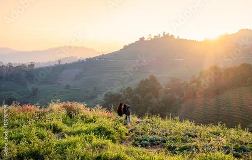 Foto auf Gartenposter Hugel Mon cham,Mon jam,landscape on hill in sunset