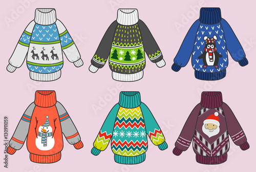 Foto auf AluDibond Boho-Stil Cute colorful Christmas sweaters vector set, pullovers party clip art collection for invitations and greeting cards