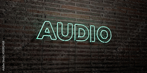 Fotografie, Obraz  AUDIO -Realistic Neon Sign on Brick Wall background - 3D rendered royalty free stock image