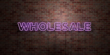 WHOLESALE - Fluorescent Neon Tube Sign On Brickwork - Front View - 3D Rendered Royalty Free Stock Picture. Can Be Used For Online Banner Ads And Direct Mailers..