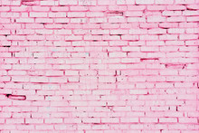 Old Pink Brick Wall With Cracks