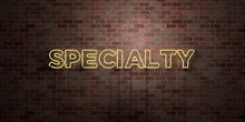 SPECIALTY - Fluorescent Neon Tube Sign On Brickwork - Front View - 3D Rendered Royalty Free Stock Picture. Can Be Used For Online Banner Ads And Direct Mailers..