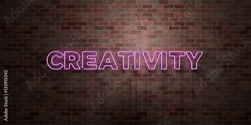 Fotografie, Obraz  CREATIVITY - fluorescent Neon tube Sign on brickwork - Front view - 3D rendered royalty free stock picture