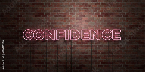 CONFIDENCE - fluorescent Neon tube Sign on brickwork - Front view - 3D rendered royalty free stock picture Wallpaper Mural
