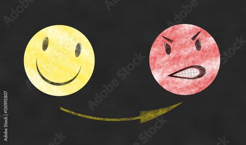 Fotografie, Obraz  Smiley felice - Smiley arrabbiato
