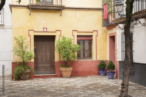 Foto op Canvas Tuin Typical Building Facade, Seville