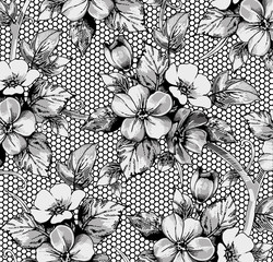FototapetaFlowers of аpple. Classic pattern. Beautiful pink flowers. Vintage background with blooming flowers. Drawing, engraving. Freehand realistic. Wallpaper. Vector victorian style Illustration.