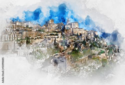 Fotografie, Obraz  Digital watercolor painting of Gordes. France
