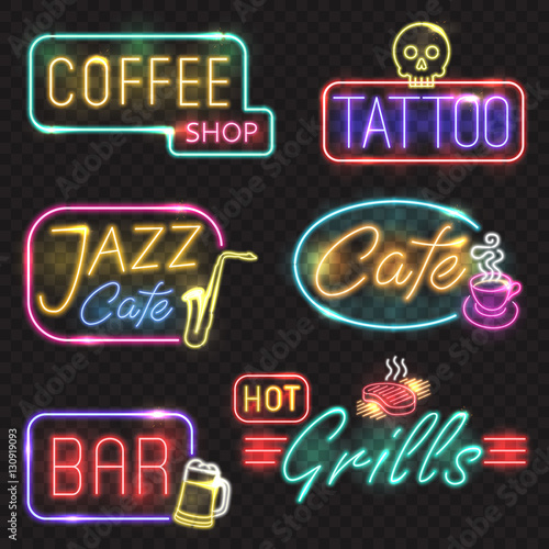 Neon Signs Vector Neon Lights Illustrations Icons For Bar Tattoo