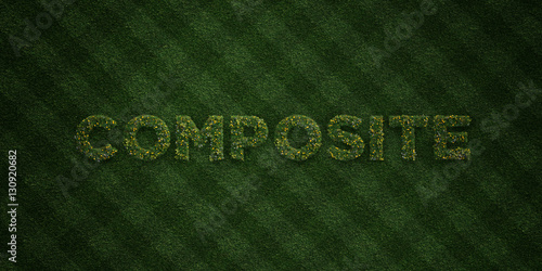 Photographie  COMPOSITE - fresh Grass letters with flowers and dandelions - 3D rendered royalty free stock image