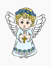Cute Little Angel With Folded ...