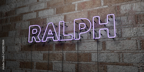 Canvas Print RALPH - Glowing Neon Sign on stonework wall - 3D rendered royalty free stock illustration