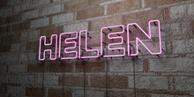 HELEN - Glowing Neon Sign On Stonework Wall - 3D Rendered Royalty Free Stock Illustration.  Can Be Used For Online Banner Ads And Direct Mailers..