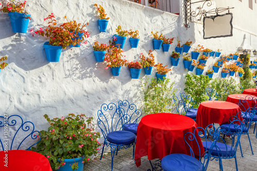 Facade of house with flowers in blue pots in Mijas. Malaga prov
