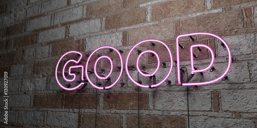 Fotografie, Tablou  GOOD - Glowing Neon Sign on stonework wall - 3D rendered royalty free stock illustration