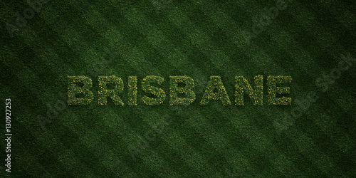 BRISBANE - fresh Grass letters with flowers and dandelions - 3D rendered royalty free stock image. Can be used for online banner ads and direct mailers..