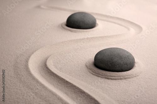 Foto op Plexiglas Stenen in het Zand Zen stones on sand