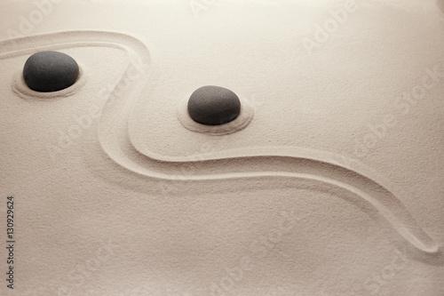 Fotobehang Stenen in het Zand Zen stones on sand