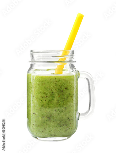 Photo  Glass jar of fresh delicious smoothie with straw on white background, closeup