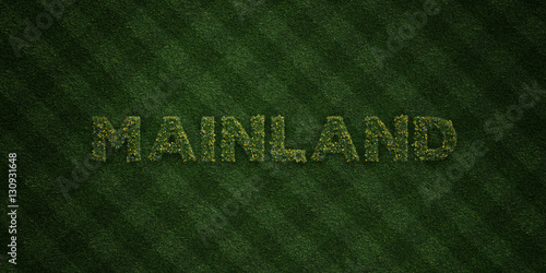 Fotografie, Obraz  MAINLAND - fresh Grass letters with flowers and dandelions - 3D rendered royalty free stock image