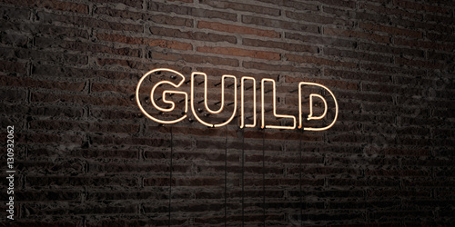 GUILD -Realistic Neon Sign on Brick Wall background - 3D rendered royalty free stock image Canvas Print