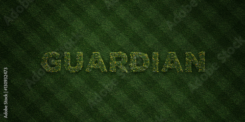Foto  GUARDIAN - fresh Grass letters with flowers and dandelions - 3D rendered royalty free stock image