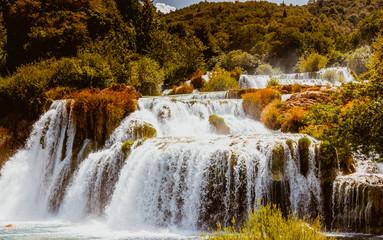Panel Szklany Podświetlane Inspiracje na jesień Krka Wasserfälle