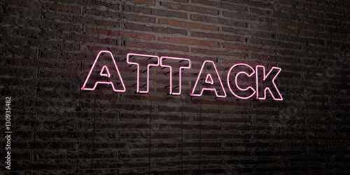 Fotografie, Tablou  ATTACK -Realistic Neon Sign on Brick Wall background - 3D rendered royalty free stock image