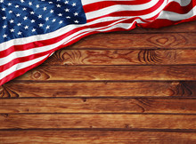 Wood Texture With American Flag