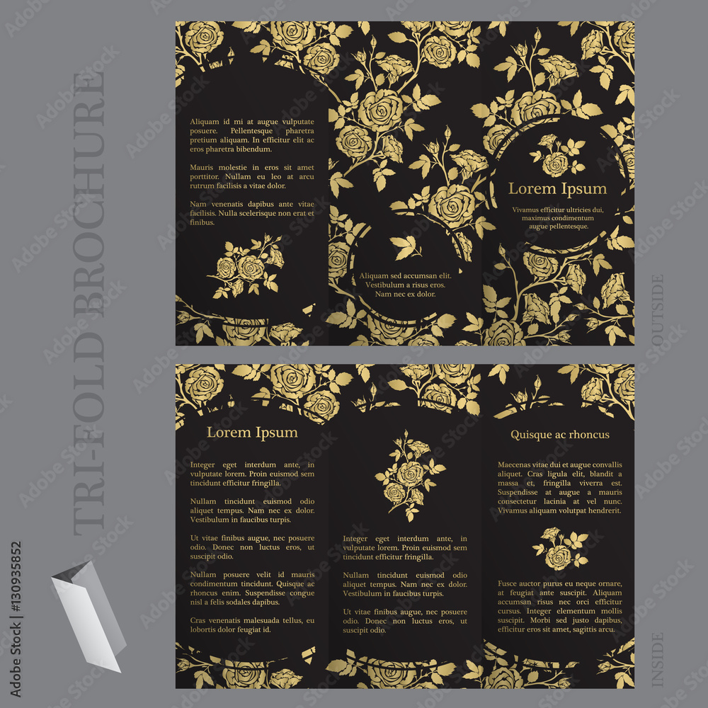 Photo & Art Print Tri-fold brochure template with roses