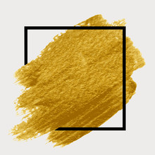 Gold Paint In Black Square. Br...