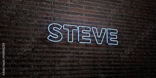 Fotografie, Obraz  STEVE -Realistic Neon Sign on Brick Wall background - 3D rendered royalty free stock image