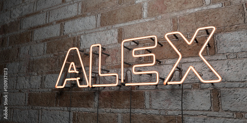 Fotografie, Obraz  ALEX - Glowing Neon Sign on stonework wall - 3D rendered royalty free stock illustration
