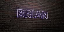 BRIAN -Realistic Neon Sign On Brick Wall Background - 3D Rendered Royalty Free Stock Image. Can Be Used For Online Banner Ads And Direct Mailers..