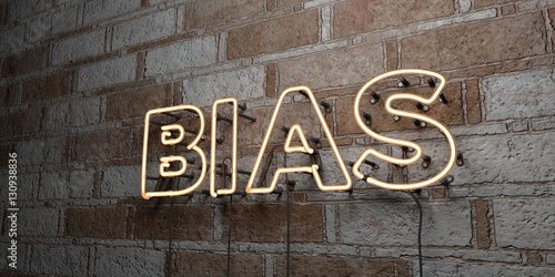 BIAS - Glowing Neon Sign on stonework wall - 3D rendered royalty free stock illustration Canvas Print