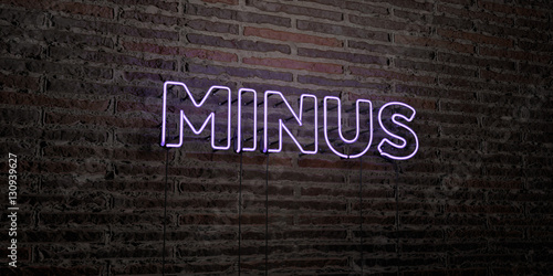 Photo  MINUS -Realistic Neon Sign on Brick Wall background - 3D rendered royalty free stock image