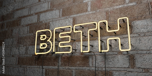 Photo  BETH - Glowing Neon Sign on stonework wall - 3D rendered royalty free stock illustration