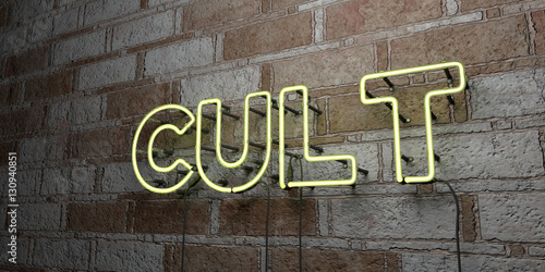 Photo  CULT - Glowing Neon Sign on stonework wall - 3D rendered royalty free stock illustration