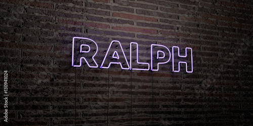 Fototapeta RALPH -Realistic Neon Sign on Brick Wall background - 3D rendered royalty free stock image