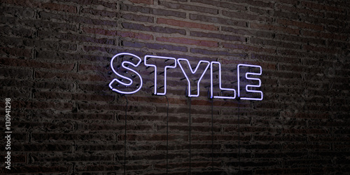 Fotografia, Obraz  STYLE -Realistic Neon Sign on Brick Wall background - 3D rendered royalty free stock image