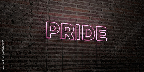 Valokuva  PRIDE -Realistic Neon Sign on Brick Wall background - 3D rendered royalty free stock image