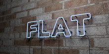 FLAT - Glowing Neon Sign On St...